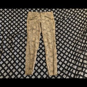 ZARA Tan Snake Leather Pants With Zippers